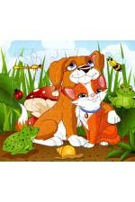 Детски пъзел Куче и Котка